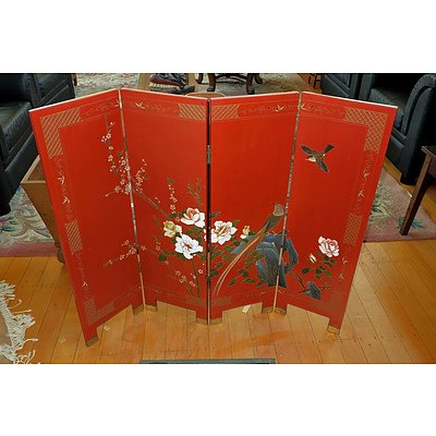 Chinese Lacquer Four Fold Screen