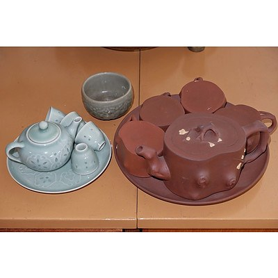 Chinese Yixing Pottery Tea Set and Celadon Wares