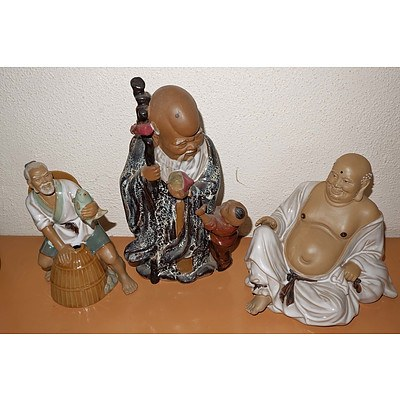 Three Chinese Shiwan Pottery Figures