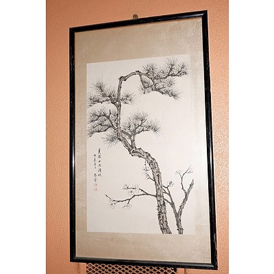 Qinxuan Huang (Chinese Dates Unknown) Framed Scroll Painting Pine and Prunus, Ink and Colour on Paper with Silk Backing