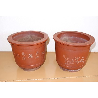 Pair of Chinese Yixing Pottery Planters