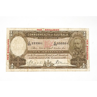 1934 Riddle / Sheehan 10 Shilling Note with Over Printed Border, C30533301