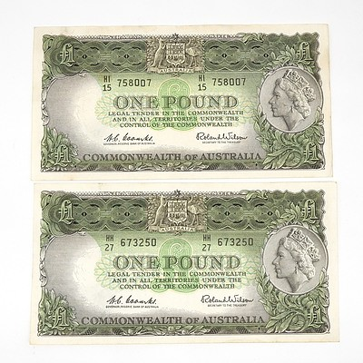 Two 1961 Coombs / Wilson One Pound Notes, HH27673250 and HI15758007