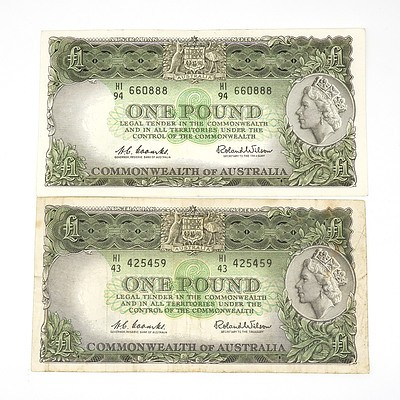 Two 1961 Coombs / Wilson One Pound Notes, HI4342459 and HI94660888