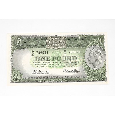 1961 Coombs / Wilson One Pound Note, HK29789026