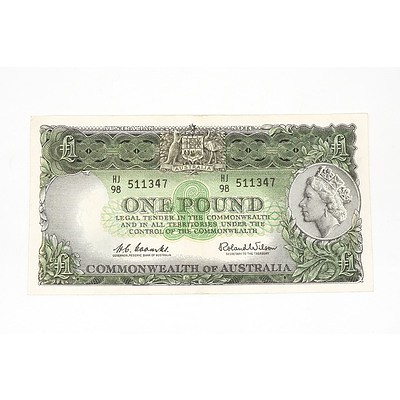 1961 Coombs / Wilson One Pound Note, HJ98511347