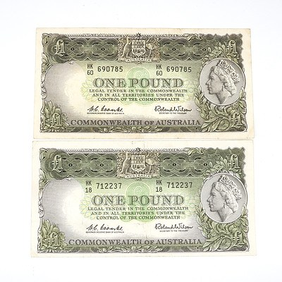 Two 1961 Coombs / Wilson One Pound Notes, HK18712237 and HK60690785