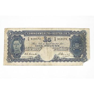1949 Coombs / Watt Five Pound Note, S8353572