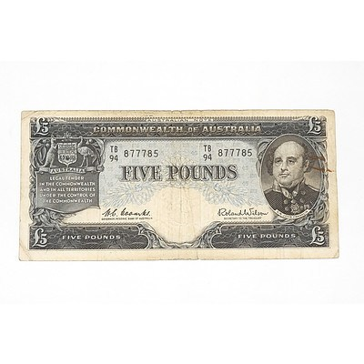 1960 Coombs / Wilson Five Pound Note, TB94877785