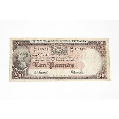 1960 Coombs / Wilson Ten Pound Note, WA54417487