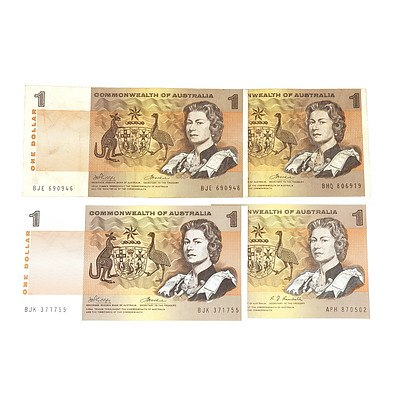 Four Commonwealth of Australia One Dollar Notes