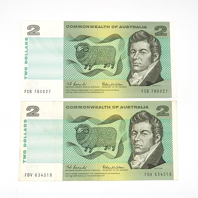Two Commonwealth of Australia Coombs / Wilson Two Dollar Notes, FCB780027 and FDV634518