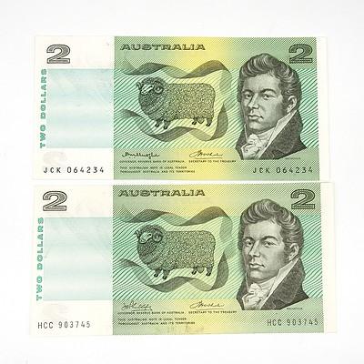 Two Australian Two Dollar Notes, Phillips / Wheeler HCC903745 and  Knight / Wheeler JCK064234