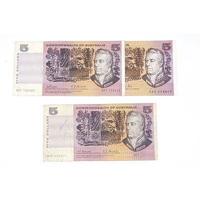 Three Australian Five Dollar Note, Including 1969 Phillips / Randall NFT129420