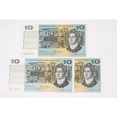 Three 1966 Commonwealth of Australia Coombs / Wilson Ten Dollar Notes, Including 1969 Phillips / Randall NFT129420