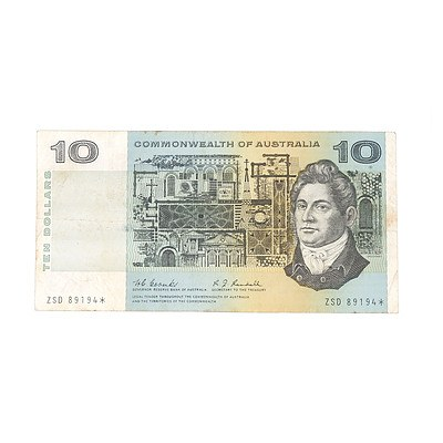 Scarce 1967 Commonwealth of Australia $10 Star Note, Coombs / Randall ZSD89194*