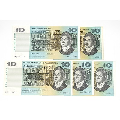 Five Australian Ten Dollar Notes, Including Phillips / Randall SLE919145 and Phillips / Wheeler SUF19858