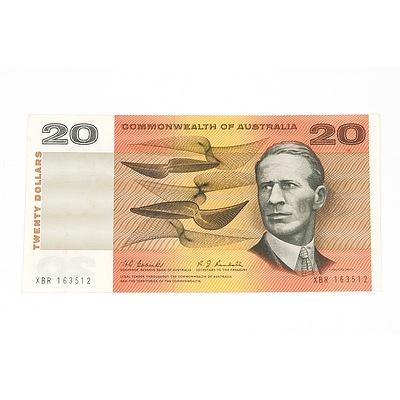 1967 Commonwealth of Australia Coombs / Randall Twenty Dollar Note, XBR163512