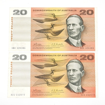 Two 1968 Commonwealth of Australia Phillips/ Randall Twenty Dollar Notes, XBX326386 and XEG232819