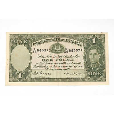 1952 Coombs / Wilson One Pound Note, X35883577