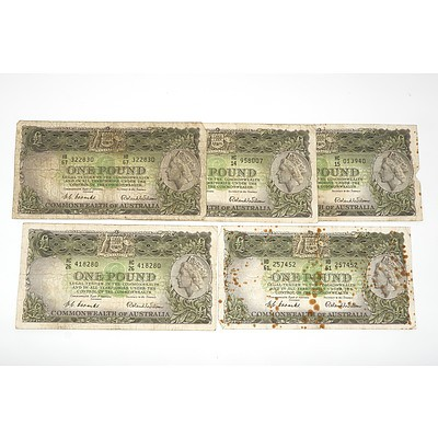 Five 1953 Coombs / Wilson One Pound Notes