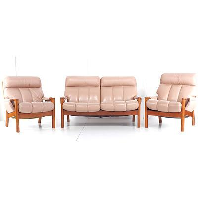 Tessa Wellington Three Peice Suite with Light Salmon Leather Upholstery, Designed by Fred Lowen