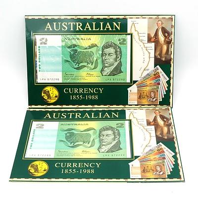 Two Consecutive Australian $2 Johnston/ Fraser Note in Folders, LPX872289- LPX872290