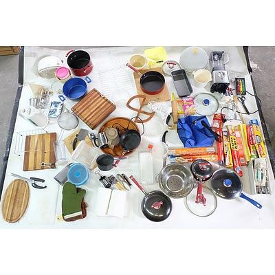 Large Assortment of Kitchenwares including: Sunbeam Blender, Breville Milkshake Maker, Toaster, Stick Blender, Pots, Pans and Much More