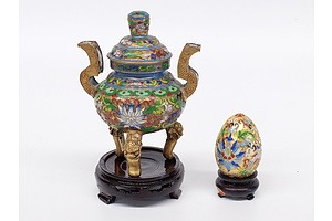 Small Cloisonne Lidded Pot and Egg with stands