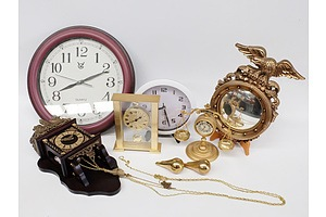 Quantity of Five Clocks, Two Seiko and an American Style Convex Mirror