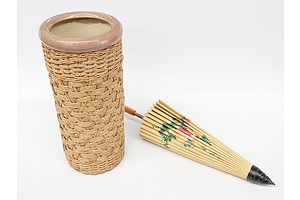 Umbrella Stand and Hand Painted Bamboo Umbrella