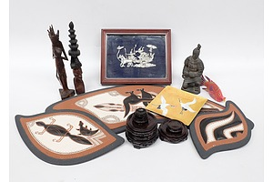 Collection of Souvenirware including 6 Rosewood Display Stands, Thai Pewter Plaque, Two Asian Hardwood Statues
