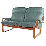 Tessa Green Leather Upholstered Two Seater Lounge