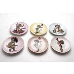Six Small Brownie Downing Porcelain Plates