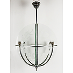 Chrome Plated Art Deco Chandelier with Glass Panes