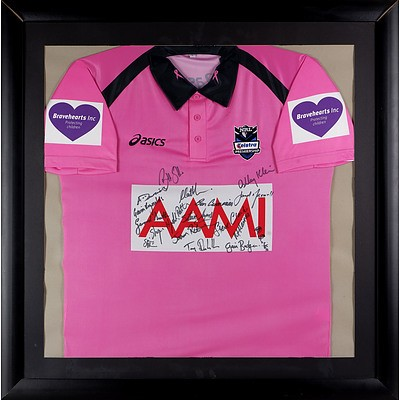 Framed and Signed Telstra Premiership Referees Jersey, Including Steve Clark, Ben Cummins and More