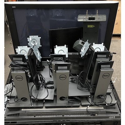Bulk Lot of Assorted TVs, Monitors and Monitor Stands