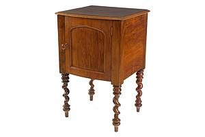 Antique Walnut Pot Cupboard with Unusual Leg Turnings, Late 19th Century