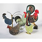 Five Chicken and Rooster Themed Tin Decorations and Brass Vase