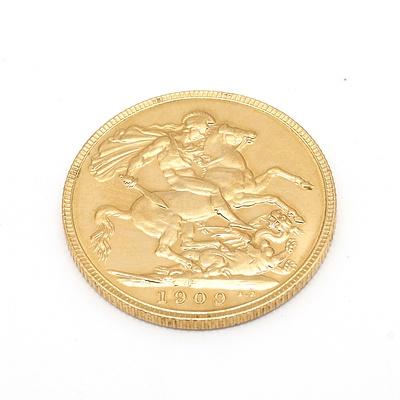 1909 Gold Sovereign, Edward VII, Perth Mint, 9g