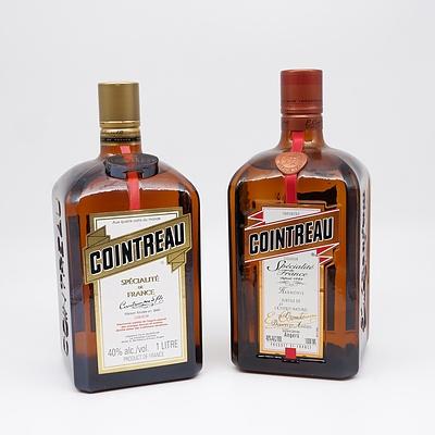 Two Bottles of Cointreau Specialite De France Liqueur 1 Litre