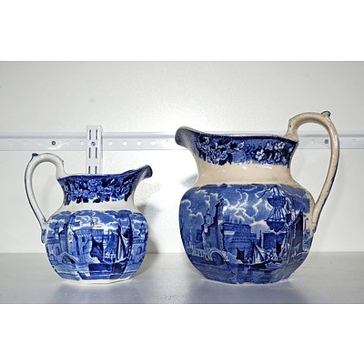 Two Late Victorian Wedgwood Blue and White Jugs
