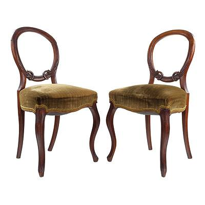 Pair of Victorian Walnut Balloon Back Dining Chairs Circa 1890
