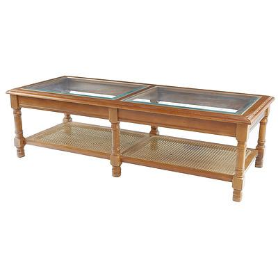 Large Coffee Table with Glass Top and Rattan Under Shelf