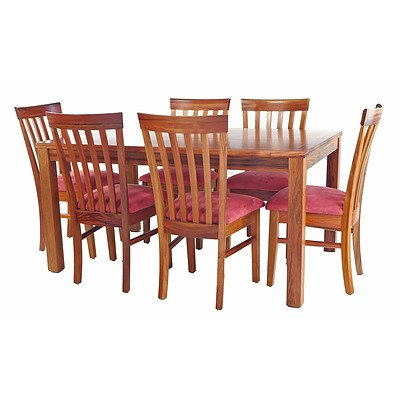 Quality Contemporary Solid Tasmanian Ash and Huon Pine Inlay Dining Suite