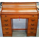 Vintage Black Bean Veneer Roll Top Desk