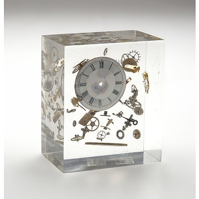 Pierre Giraudon (French 1923-2012) Lucite Resin Block Encased Sculptural Inclusion of Exploded Horological Mechanisms Circa 1970s