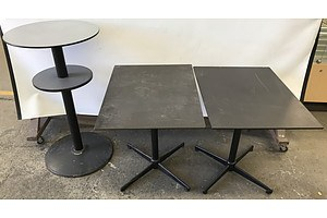 Cafe Tables and Bar Table -Lot Of Three
