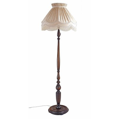 Substantial Turned English Oak Standard Lamp with Pleated and Fringed Satin Brocade Shade, Early 20th Century