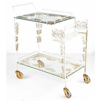 Unusual Vintage Wrought Iron and Glass Drinks Trolley